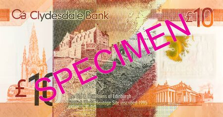 10 Pounds Sterling note issued by Clydesdale Bank PLC specimen obverse Imagens