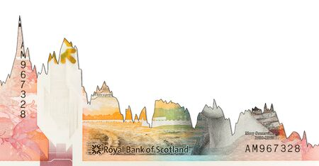 10 Pounds Sterling banknote issued by Royal Bank of Scotland decline graph indicating exchange rate with copyspace Imagens