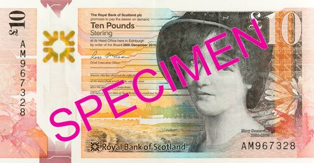 10 Pounds Sterling note issued by Royal Bank of Scotland specimen reverse Imagens