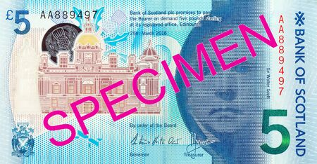 5 Pounds Sterling note issued by Bank of Scotland specimen reverse Imagens