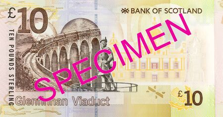10 Pounds Sterling note issued by Bank of Scotland specimen obverse Imagens
