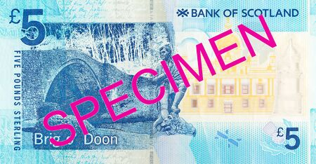5 Pounds Sterling note issued by Bank of Scotland specimen obverse Imagens