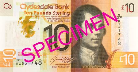 10 Pounds Sterling note issued by Clydesdale Bank PLC specimen reverse Imagens