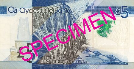 5 Pounds Sterling note issued by Clydesdale Bank PLC specimen obverse Imagens