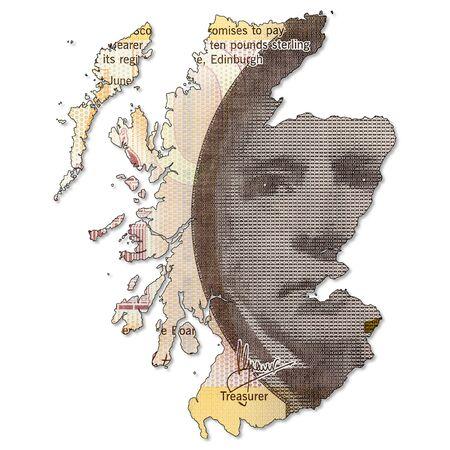 Banconota da 10 sterline emessa dalla Bank of Scotland al rovescio a forma di Scozia