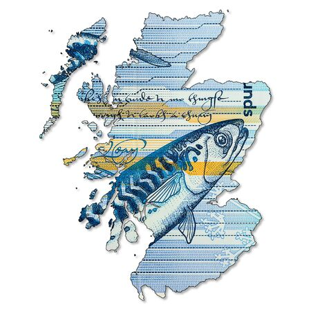 5 Pounds Sterling note issued by Royal Bank of Scotland obverse in shape of Scotland