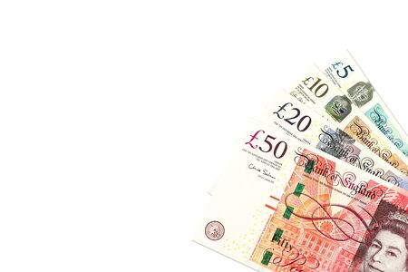 some pound sterling banknotes with copyspace Imagens