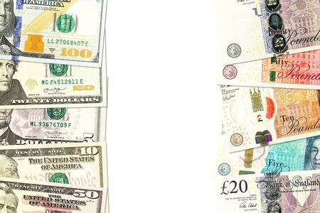 some pound sterling banknotes and us-dollar banknotes indicating bilateral economic relations with copy space Imagens