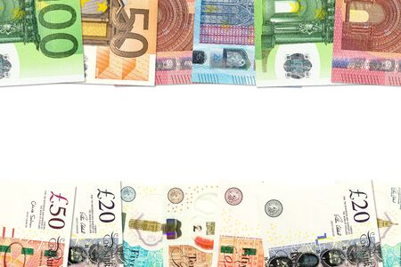some pound sterling banknotes and euro banknotes indicating bilateral economic relations with copy space