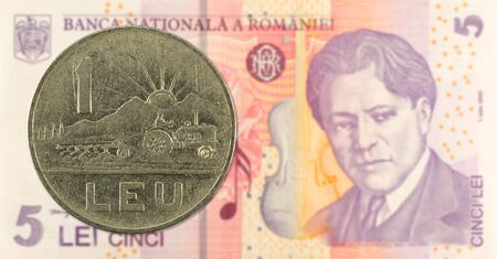 1 romanian leu coin against 5 romanian leu banknote indicating growing economics with copyspace Foto de archivo