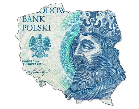 new 50 polish zloty banknote obverse in shape of Poland
