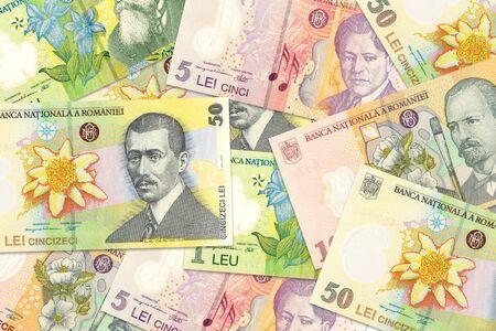 some romanian leu banknotes mixed indicating growing economics with copyspace