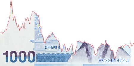 1000 south korean won bank note decline graph indicating exchange rate with copyspace
