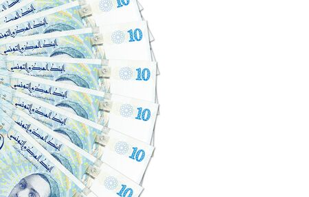 some 10 tunisian dinar banknotes new edition obverse indicating economics with copy space