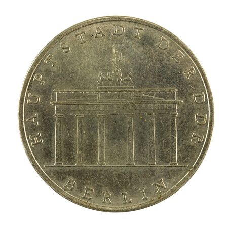historic 5 east german mark coin special edition(1971) reverse isolated on white background Reklamní fotografie