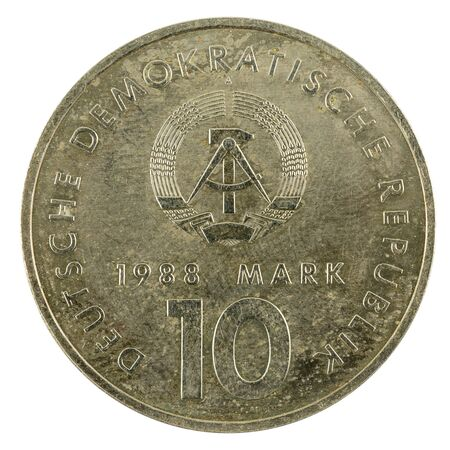 historic 10 east german mark coin special edition(1988) reverse isolated on white background