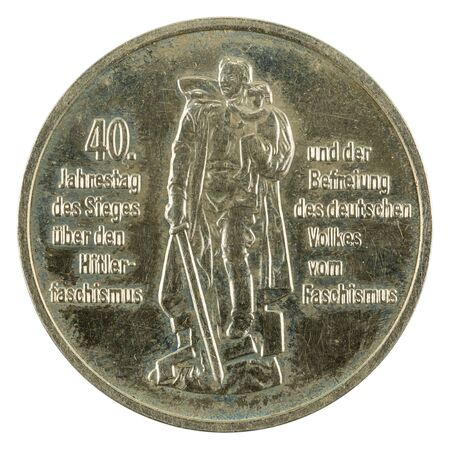 historic 10 east german mark coin special edition(1985) obverse isolated on white background