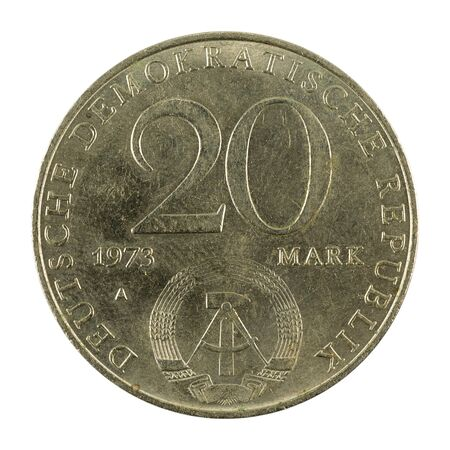 historic 20 east german mark coin special edition(1973) reverse isolated on white background Standard-Bild