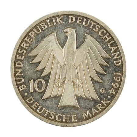 10 german mark coin special edition (1994) reverse isolated on white background Standard-Bild