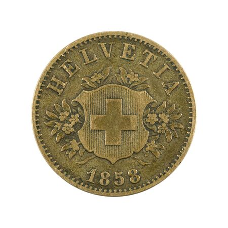 20 swiss rappen coin (1858) reverse isolated on white background