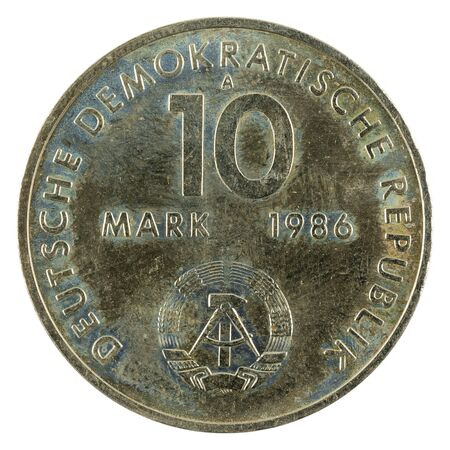 historic 10 east german mark coin special edition(1986) reverse isolated on white background