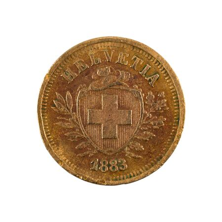 1 swiss rappen coin (1883) reverse isolated on white background
