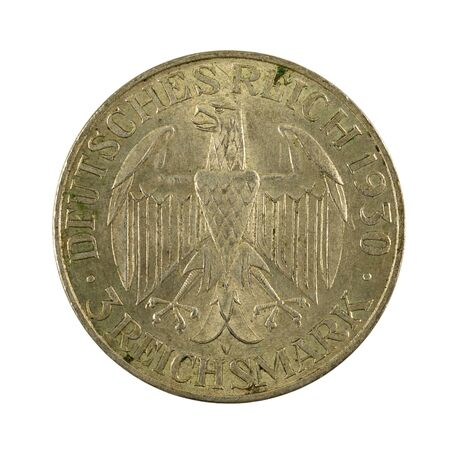 3 german reichsmark coin (1929) obverse isolated on white background