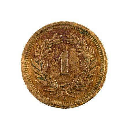 1 swiss rappen coin (1883) obverse isolated on white background