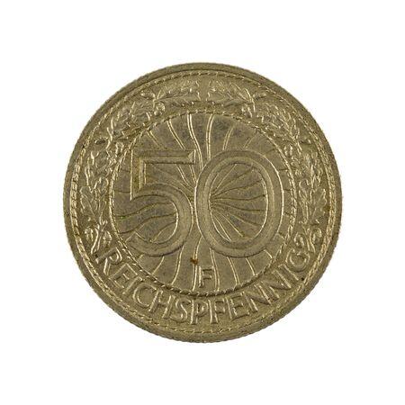 50 german reichspfennig coin (1929) obverse isolated on white background