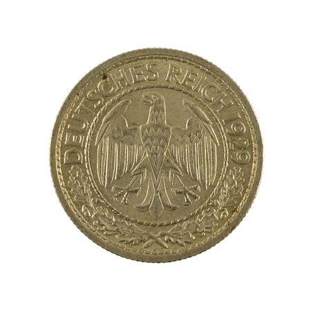 50 german reichspfennig coin (1929) reverse isolated on white background