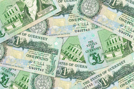 Guernsey pound banknotes mixed illustrating economy and investment Standard-Bild