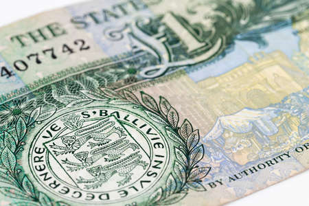 detail of a one Guernsey pound banknote obverse Stock Photo