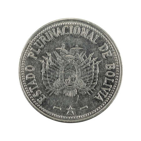 50 bolivian boliviano coin (2012) reverse isolated on white background Standard-Bild
