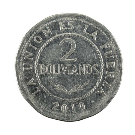2 bolivian boliviano coin (2010) obverse isolated on white background Standard-Bild