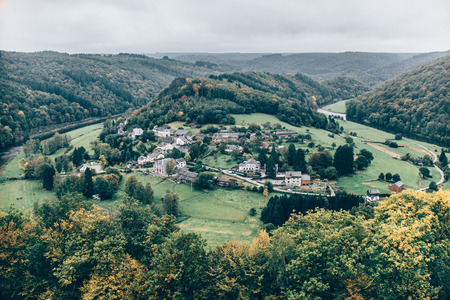 medeival: View on old village in a valley