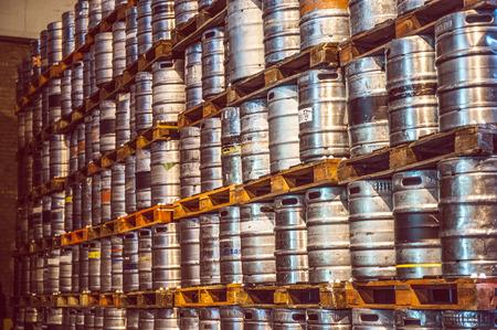kegs: Beer kegs on pallets
