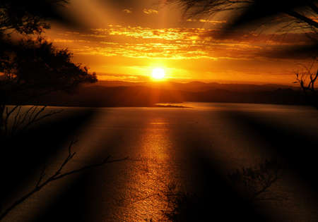 Awesome sunset with huge solar rays. photo