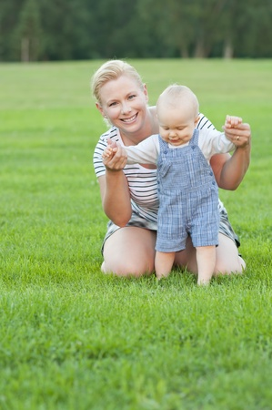 Mother and child spending time together in the park