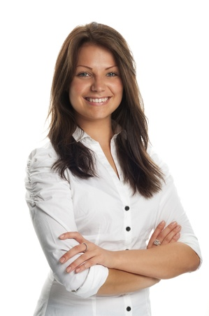 femme brune: Portrait de femme d'affaires professionnelle debout avec les bras crois�s