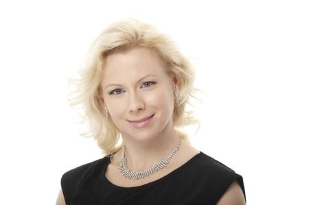 Closeup portrait of happy woman on white background Stock Photo