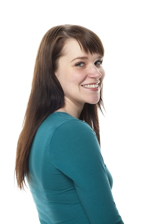 Portrait of happy woman on white background