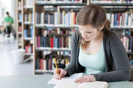 Portrait of female student studing at the table Stock Photo - 13499274