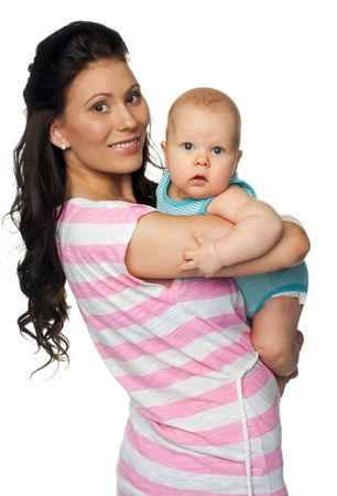 Portrait of mother and baby isolated on white background Stock Photo - 14446062