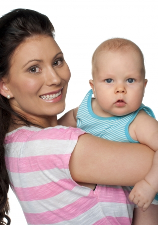 Portrait of mother and baby isolated on white background