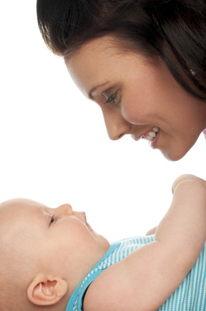 Portrait of mother and baby isolated on white background Stock Photo - 14446059
