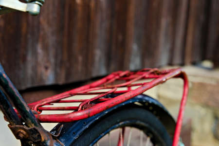 Close up of old vintage bike luggage rack, common on most European bicycles.