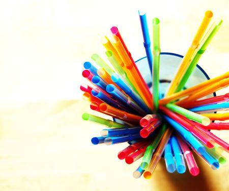 horizontals: Multicolored straws with swallow DOF