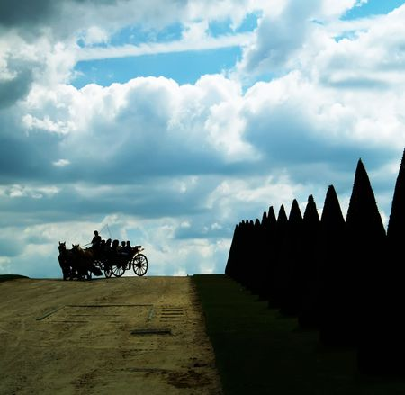 Carriage under blue sky photo