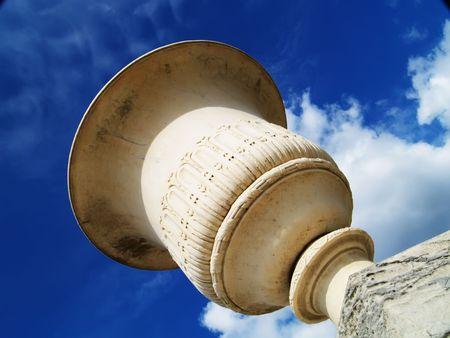 singular architecture: Flowerpot under blue sky