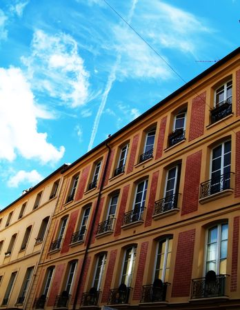 horizontals: Houses and blue sky Stock Photo